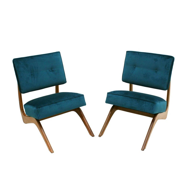 Adrian Pearsall Mid-Century Modern Walnut Pair of American Lounge Chairs In Excellent Condition For Sale In Madrid, ES
