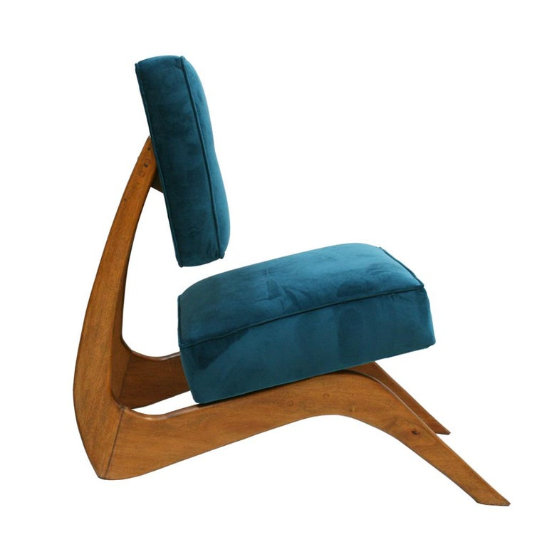 Cotton Adrian Pearsall Mid-Century Modern Walnut Pair of American Lounge Chairs For Sale