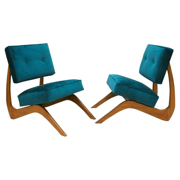 Adrian Pearsall Mid-Century Modern Walnut Pair of American Lounge Chairs For Sale
