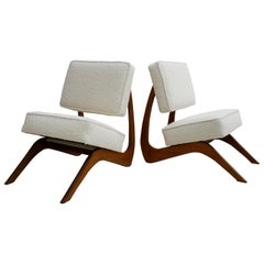 Adrian Pearsall Mid-Century Modern Walnut Pair of American Lounge Chairs