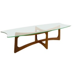 Adrian Pearsall Mid Century Ribbon Coffee Table with Stingray Glass Top