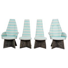 Adrian Pearsall Midcentury Brutalist High Back Dining Chairs, Set of Four