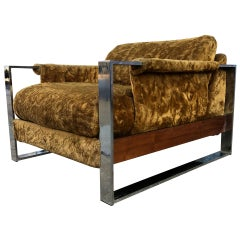Adrian Pearsall Midcentury Chrome Cube Low Lounge Chair Gold Faux Fur