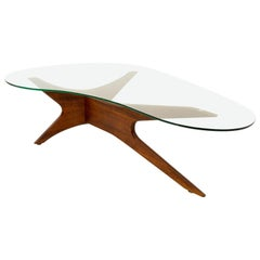 Adrian Pearsall Midcentury Sculptural Kidney Shaped Walnut Coffee Table