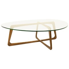 Adrian Pearsall Midcentury Walnut and Glass Top Coffee Table