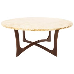 Adrian Pearsall Midcentury Walnut and Travertine Top Coffee Table