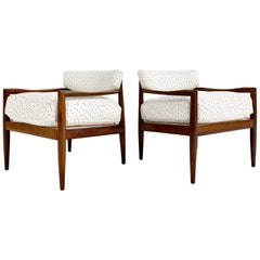 Adrian Pearsall Model 834-C Lounge Chairs in Rose Uniacke Linen, Pair