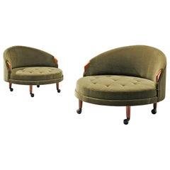 Adrian Pearsall Pair of 'Havana' Lounge Chair in Green Pierre Frey Fabric