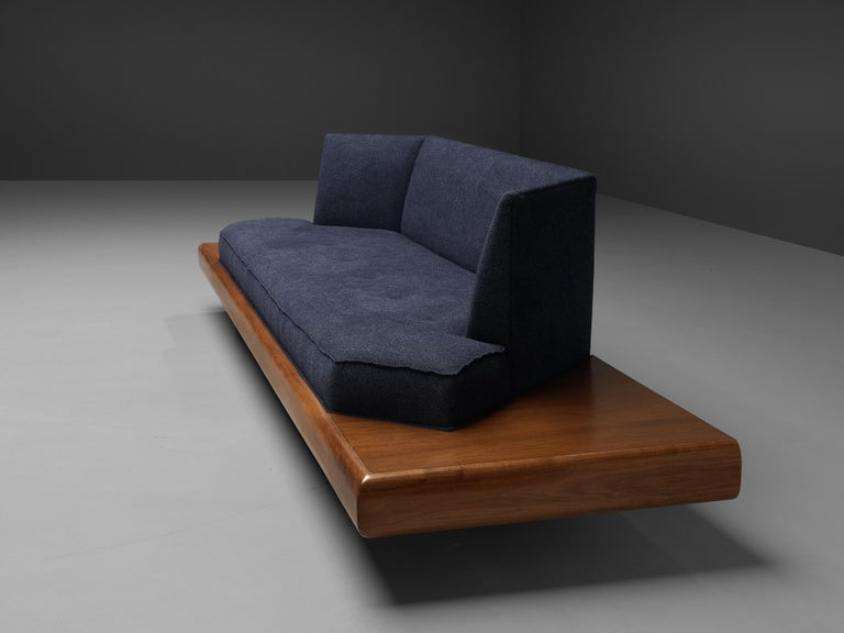 Adrian Pearsall Platform Sofa '2006S' in Walnut and Blue Fabric For Sale 5