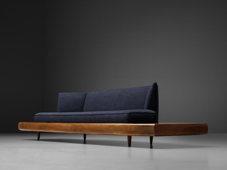 Adrian Pearsall Platform Sofa '2006S' in Walnut and Blue Fabric For Sale 6