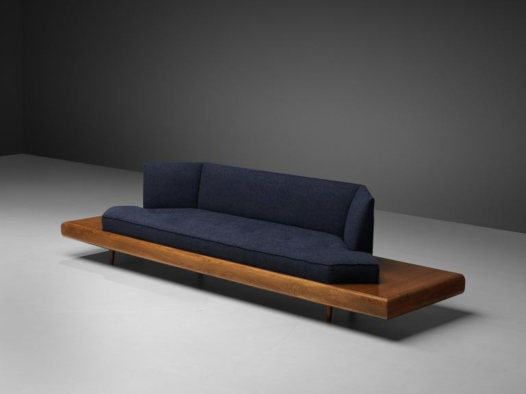 American Adrian Pearsall Platform Sofa '2006S' in Walnut and Blue Fabric For Sale