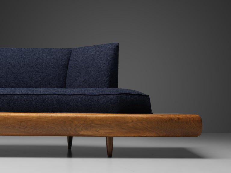 Adrian Pearsall Platform Sofa '2006S' in Walnut and Blue Fabric In Good Condition For Sale In Waalwijk, NL