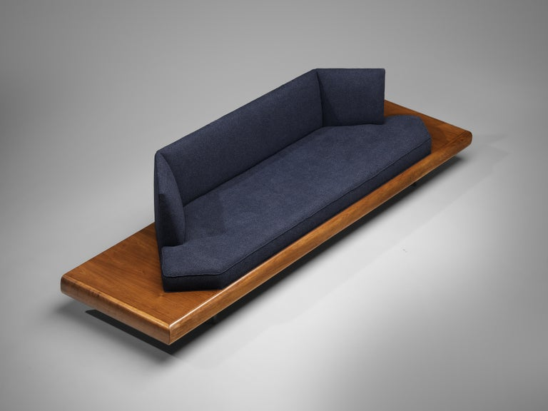 Mid-20th Century Adrian Pearsall Platform Sofa '2006S' in Walnut and Blue Fabric For Sale