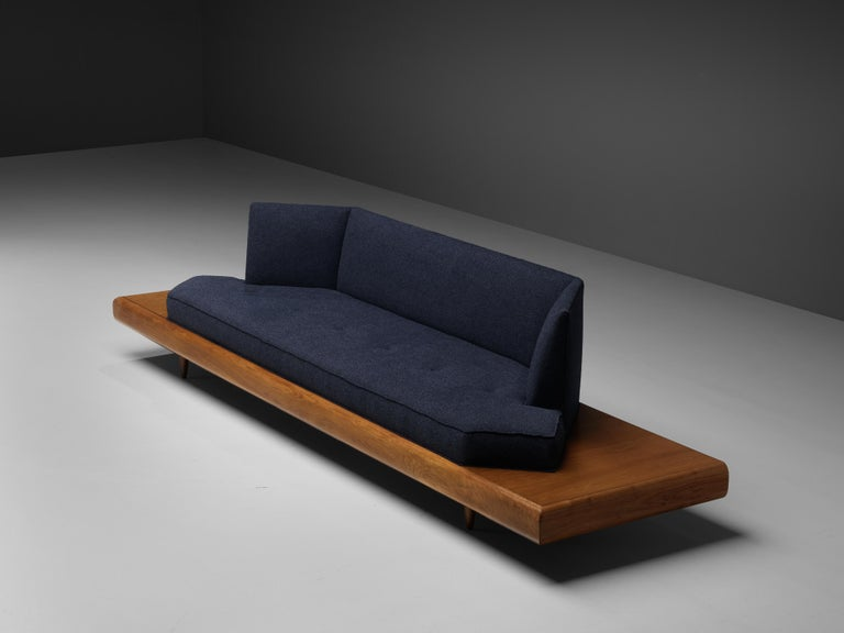 Adrian Pearsall Platform Sofa '2006S' in Walnut and Blue Fabric For Sale 2