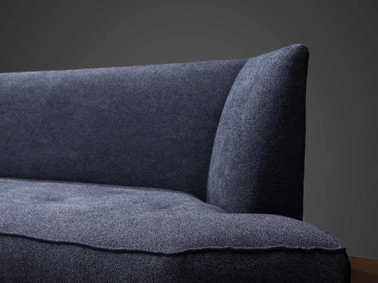 Adrian Pearsall Platform Sofa '2006S' in Walnut and Blue Fabric For Sale 3