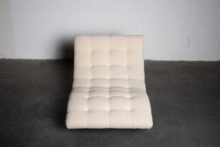 Adrian Pearsall Rare Brutalist 'Wave' Daybed in Alpaca Bouclé, 1960s, Signed For Sale 6