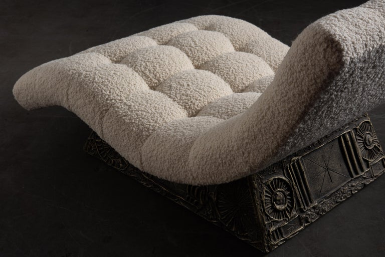 Adrian Pearsall Rare Brutalist 'Wave' Daybed in Alpaca Bouclé, 1960s, Signed For Sale 9