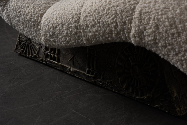 Adrian Pearsall Rare Brutalist 'Wave' Daybed in Alpaca Bouclé, 1960s, Signed For Sale 11