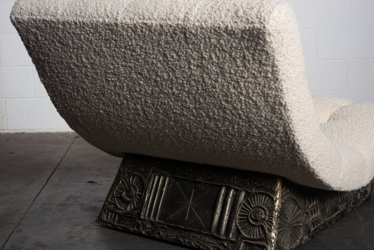 Adrian Pearsall Rare Brutalist 'Wave' Daybed in Alpaca Bouclé, 1960s, Signed For Sale 12