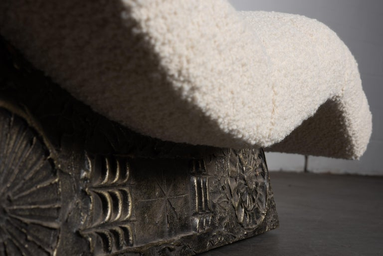 Adrian Pearsall Rare Brutalist 'Wave' Daybed in Alpaca Bouclé, 1960s, Signed For Sale 13