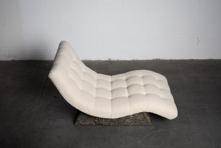 American Adrian Pearsall Rare Brutalist 'Wave' Daybed in Alpaca Bouclé, 1960s, Signed For Sale