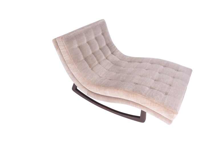 Rocking chaise longue by Adrian Pearsall. Fully restored and reupholstered in mohair.