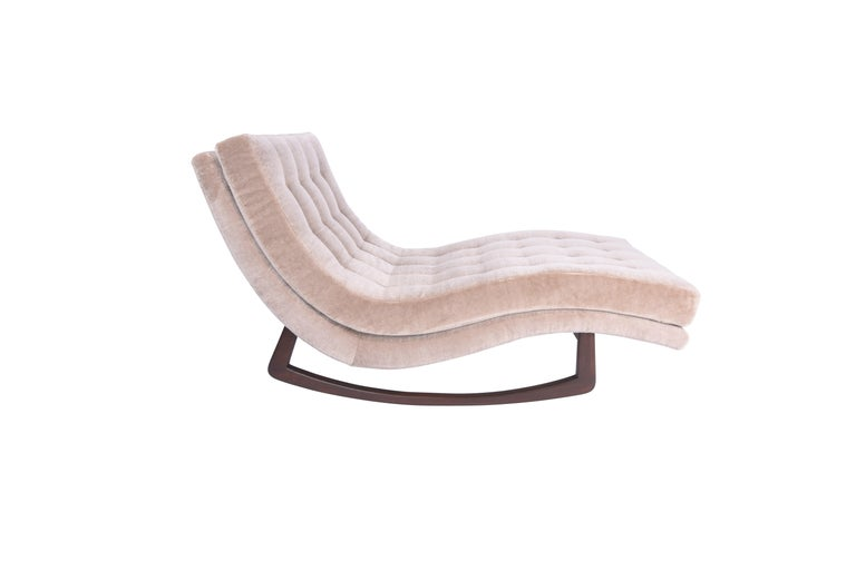 Mid-Century Modern Adrian Pearsall Rocking Chaise Lounge with Chrome Base For Sale