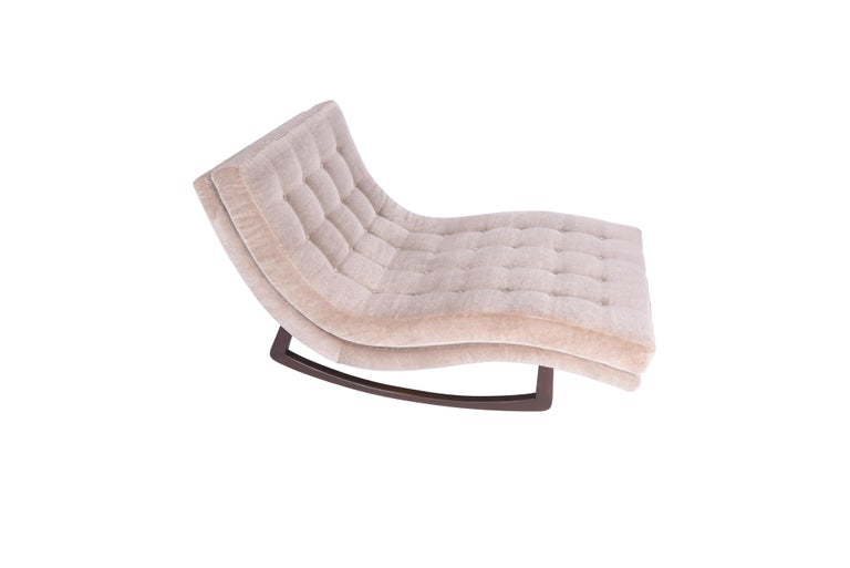 American Adrian Pearsall Rocking Chaise Lounge with Chrome Base For Sale