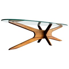 Adrian Pearsall Sculpted Coffee Table, Walnut and Glass