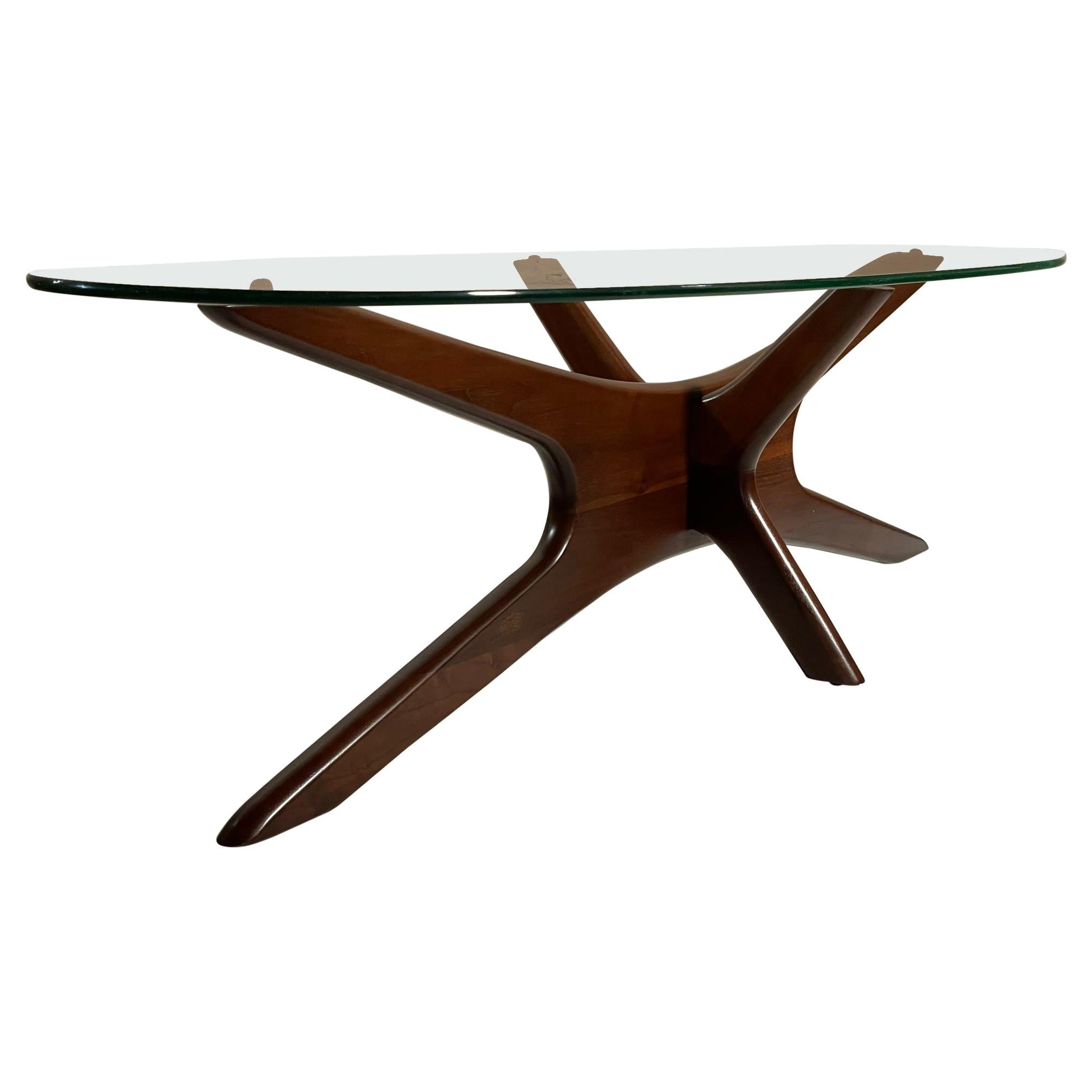 Adrian Pearsall Sculpted Coffee Table Walnut and Glass