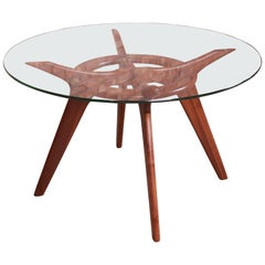 """Adrian Pearsall Sculpted Walnut Glass Top """"Compass"""" Dining Table, Refinished"""