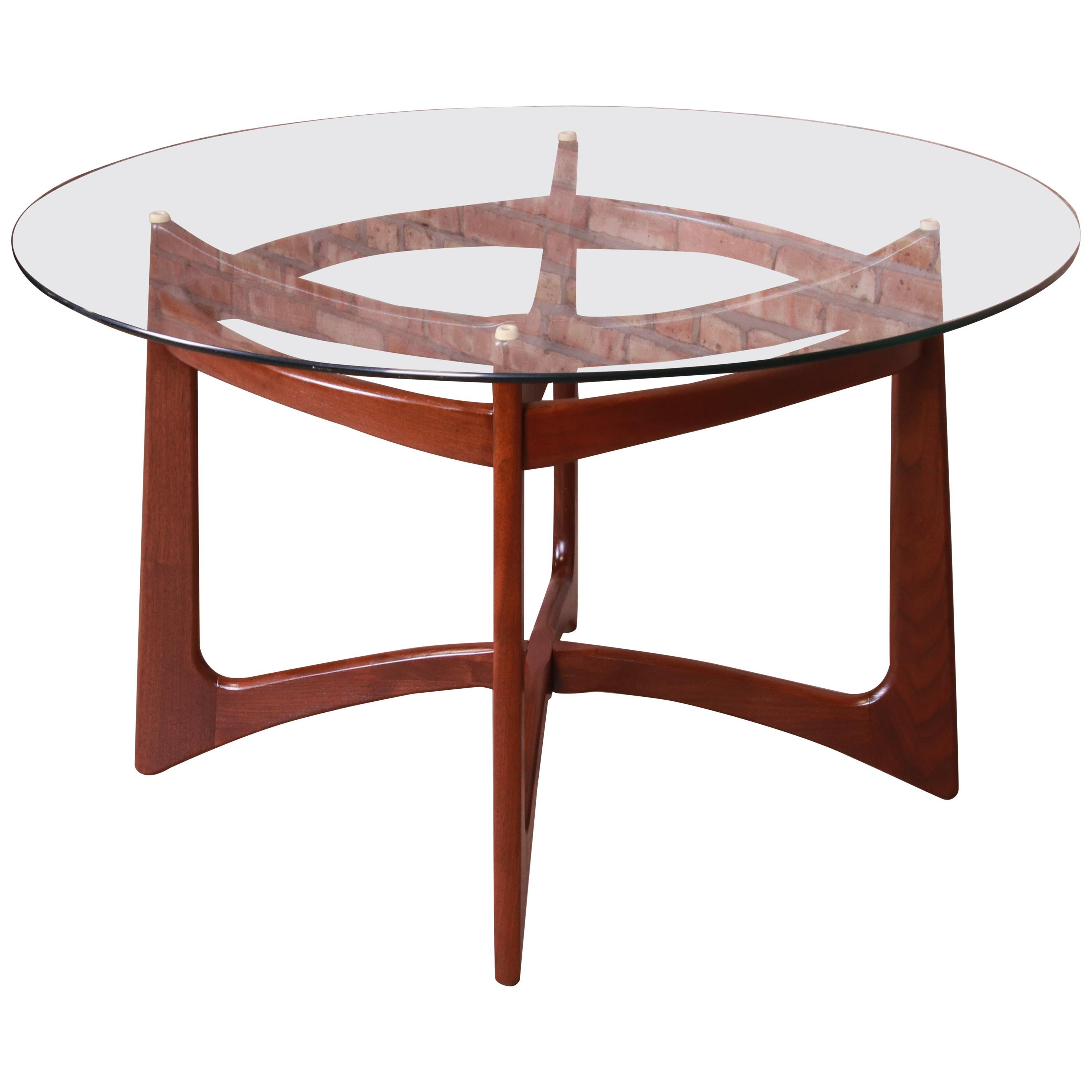 Adrian Pearsall Sculpted Walnut Glass Top Dining Table, Newly Refinished