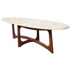 Adrian Pearsall Sculpted Walnut Marble Top Surfboard Coffee Table, 1960s