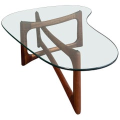 Adrian Pearsall Sculptural Walnut and Glass Coffee Table