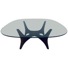 Adrian Pearsall Sculptural Walnut Coffee Table with Glass Top and Planter Space