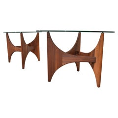 Adrian Pearsall Sculptural Walnut Side Tables Having Guitar Pick Glass Tops
