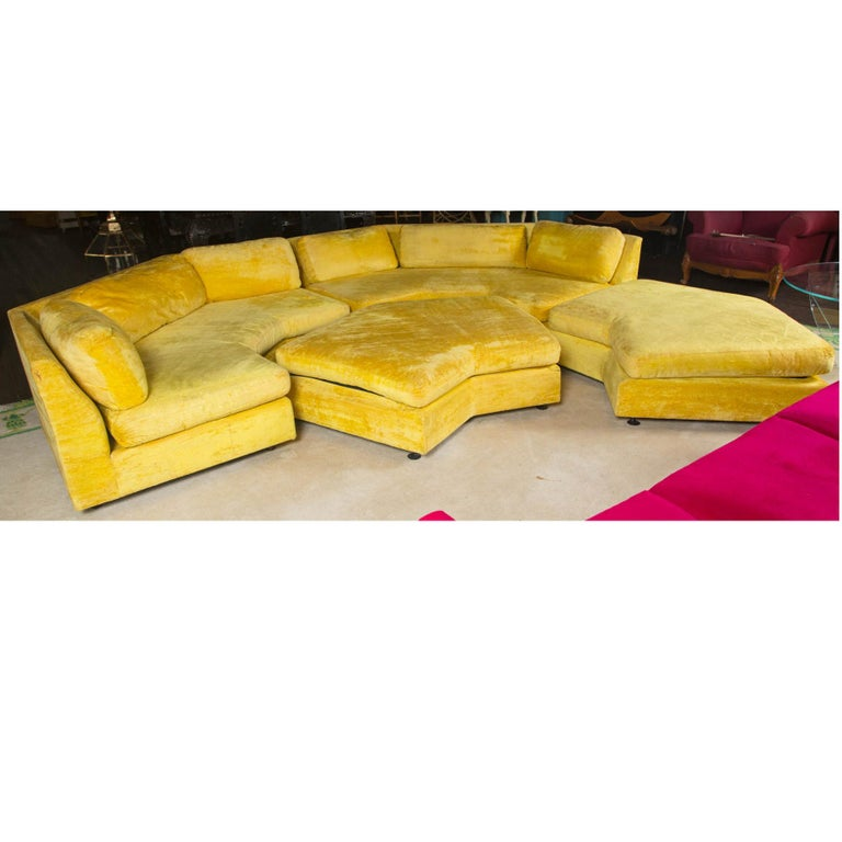 Adrian Pearsall Sectional Sofa with Two Large Ottomans by Craft Associates For Sale 1