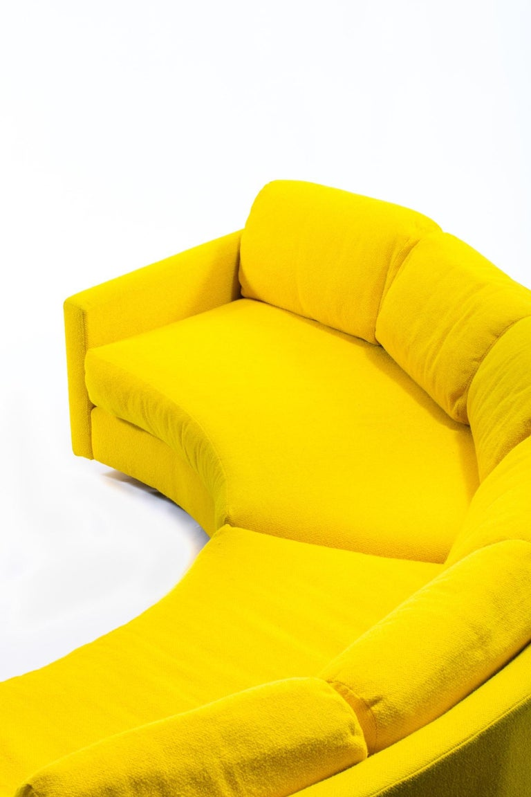 Adrian Pearsall Pit Style Yellow Semi-Circular Sofa 3 Piece Sectional In Good Condition For Sale In Saint Louis, MO