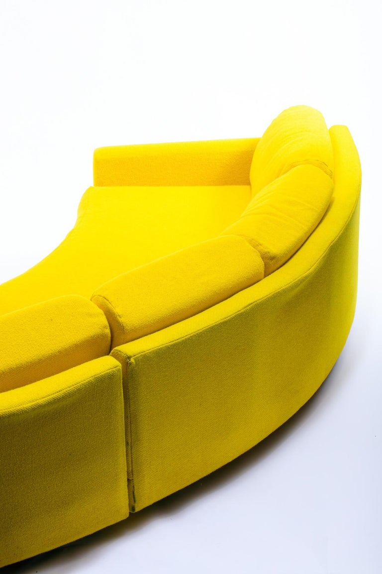 Late 20th Century Adrian Pearsall Pit Style Yellow Semi-Circular Sofa 3 Piece Sectional For Sale