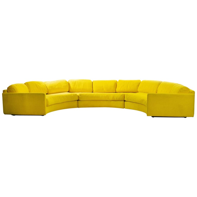 Adrian Pearsall Pit Style Yellow Semi-Circular Sofa 3 Piece Sectional For Sale