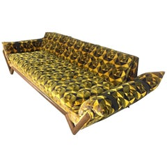 Adrian Pearsall Signed Craft Associates Black and Yellow Midcentury Sofa