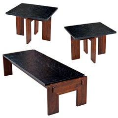 Adrian Pearsall Slate Top Walnut Base 3-Piece End Table Coffee Table Living Room
