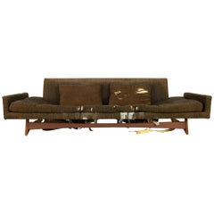 Adrian Pearsall Sled Base Midcentury Walnut Floating 4-Seat Sofa