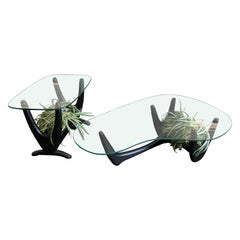 Adrian Pearsall Style Coffee Table and Side Table with Custom Planters