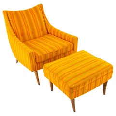 Adrian Pearsall Style Kroehler Midcentury Orange and Green Striped Lounge Chair