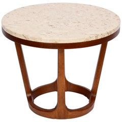 Adrian Pearsall Style Lane Furniture Co. Travertine & Walnut Occasional Table