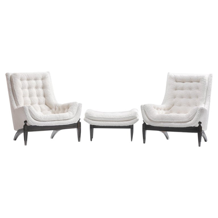 Adrian Pearsall Style Mid-Century Modern Chairs and Ottoman in Ivory Shearling For Sale