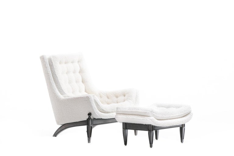 Adrian Pearsall Style Mid-Century Modern Chairs and Ottoman in Ivory Shearling For Sale 5