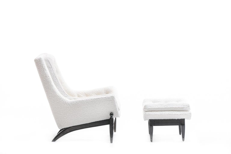 Adrian Pearsall Style Mid-Century Modern Chairs and Ottoman in Ivory Shearling For Sale 6