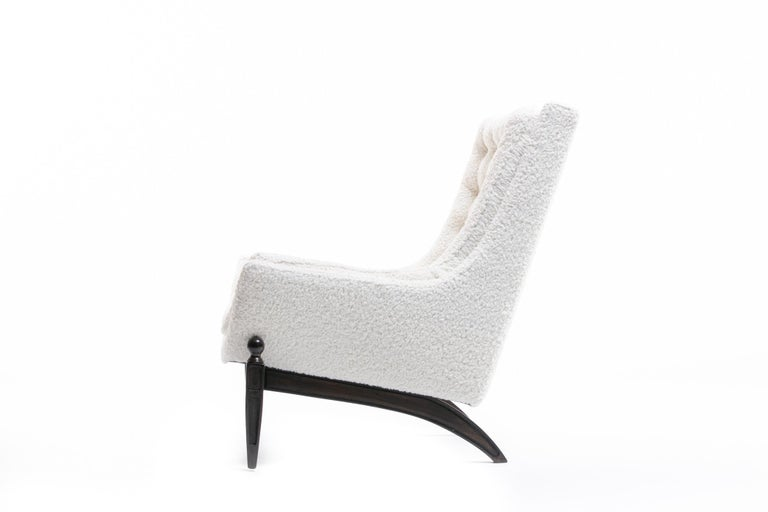 Adrian Pearsall Style Mid-Century Modern Chairs and Ottoman in Ivory Shearling For Sale 7